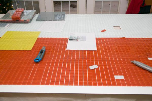 DIY Glass tile wall