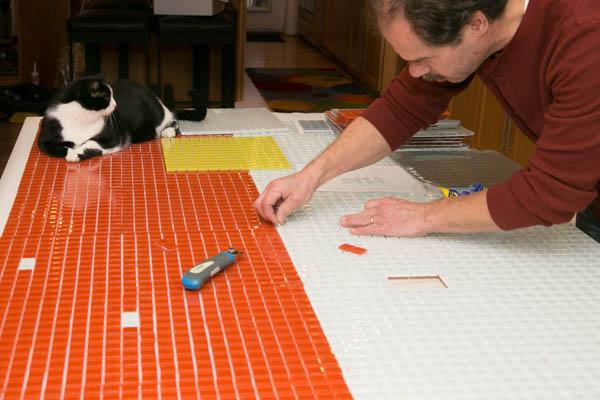 Glass tile wall DIY