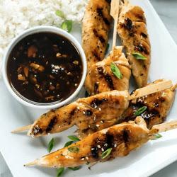 Asian Chicken Skewers with Honey Garlic Sauce