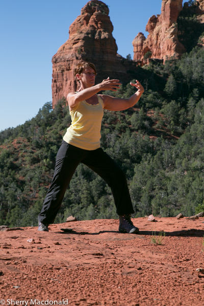 Stretching and kayaking in Sedona