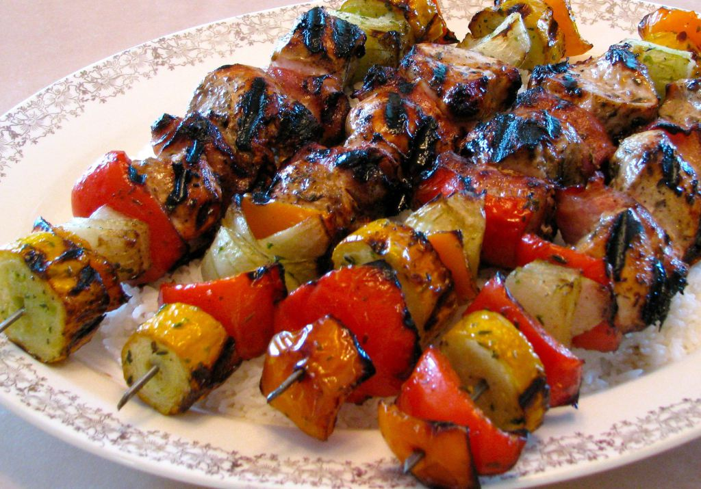 Beef Kebabs with Fried Cauliflower and Pineapple